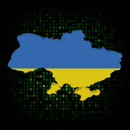 hex: Ukraine map flag on hex code illustration