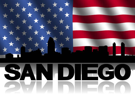 san diego: San Diego skyline and text reflected with rippled American flag illustration