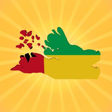 guinea bissau: Guinea Bissau map flag on sunburst illustration