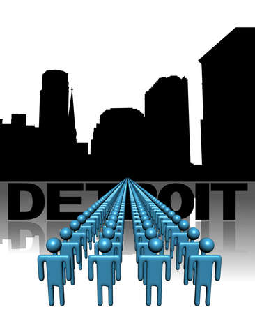Lines of people with Detroit skyline illustration illustration