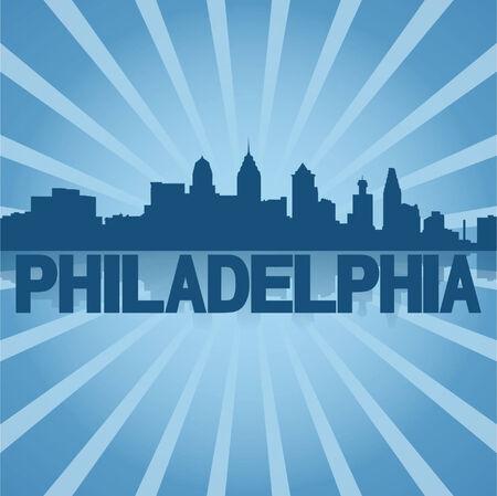 philadelphia: Philadelphia skyline reflected with blue sunburst vector illustration