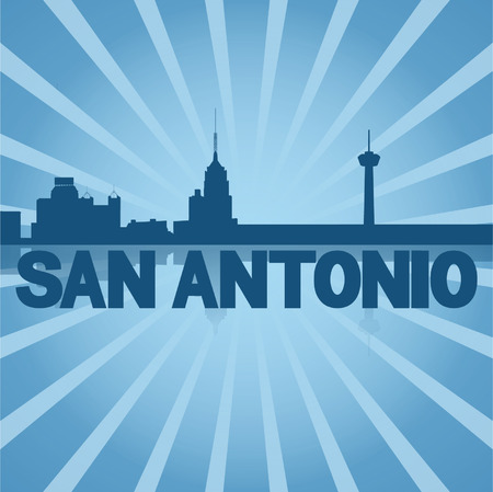 san rays: San Antonio skyline reflected with blue sunburst vector illustration