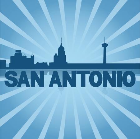 San Antonio skyline reflected with blue sunburst vector illustration