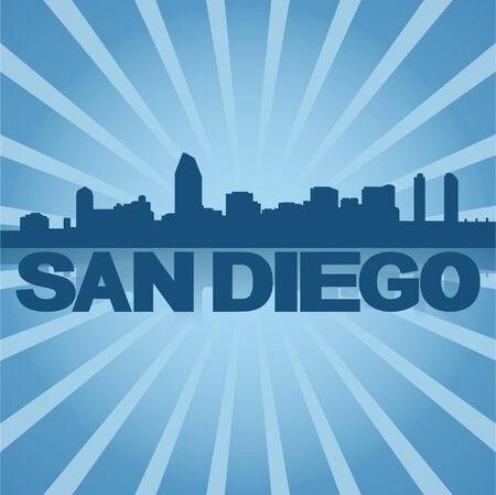 San Diego skyline reflected with blue sunburst vector illustration