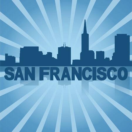 san rays: San Francisco skyline reflected with blue sunburst vector illustration