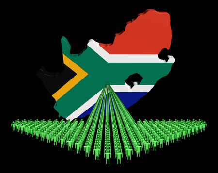 Arrow of people with South Africa map flag illustration illustration