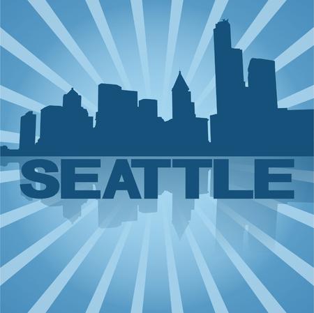 seattle skyline: Seattle skyline reflected with blue sunburst vector illustration