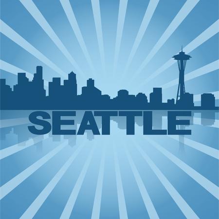 space needle: Seattle skyline reflected with blue sunburst vector illustration
