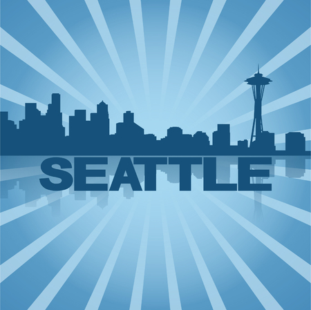Seattle skyline reflected with blue sunburst vector illustration