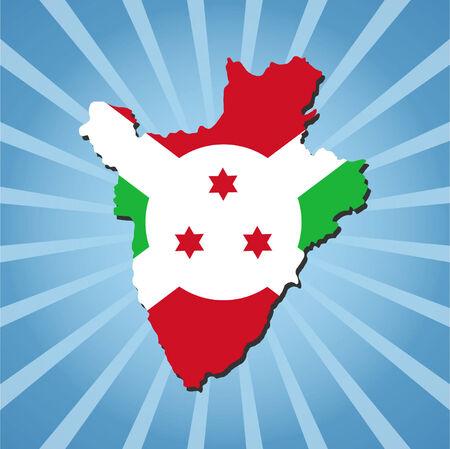 burundi: Burundi map flag on blue sunburst illustration