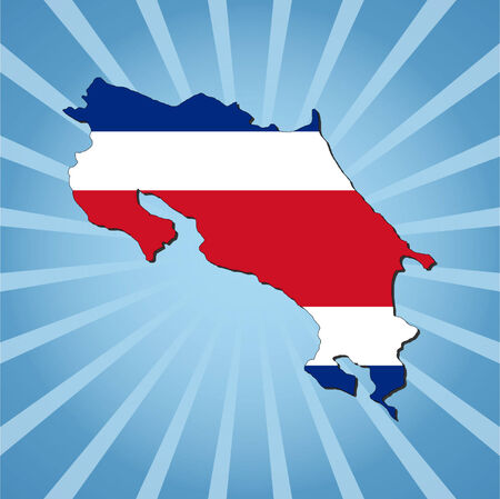 Costa Rica map flag on blue sunburst illustration Vector