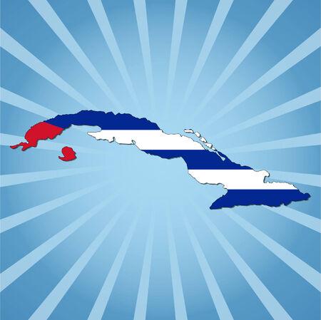 cuban flag: Cuba map flag on blue sunburst illustration Illustration