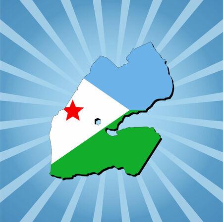 Djibouti map flag on blue sunburst illustration