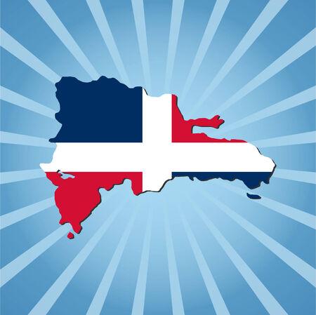 Dominican Republic map flag on blue sunburst illustration Vector