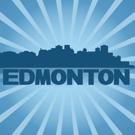 edmonton: Edmonton skyline reflected with blue sunburst illustration Stock Photo