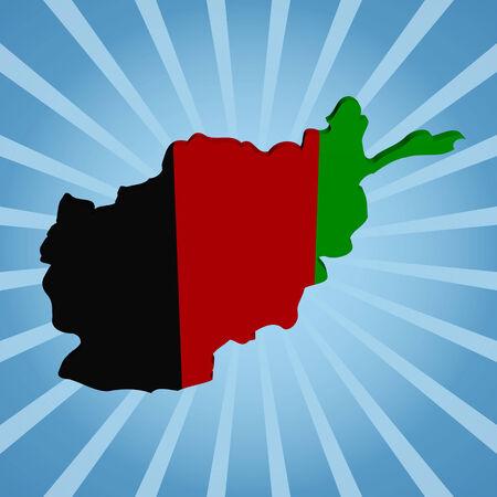 afghan: Afghan map flag on blue sunburst illustration