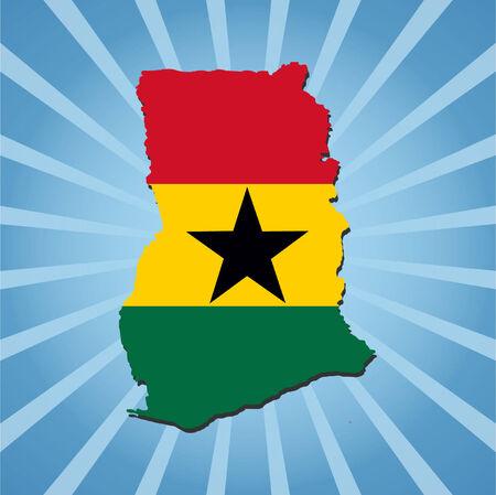 ghana: Ghana carte drapeau bleu sur l'illustration sunburst
