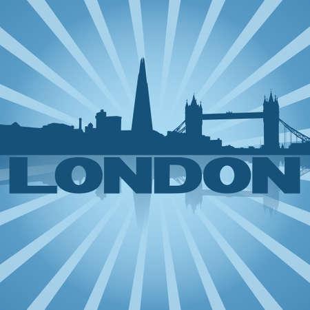 abstract london: London skyline reflected with blue sunburst illustration