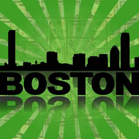 boston skyline: Boston skyline reflected with green dollars sunburst illustration