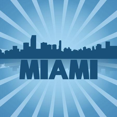 Miami skyline reflected with blue sunburst illustration illustration