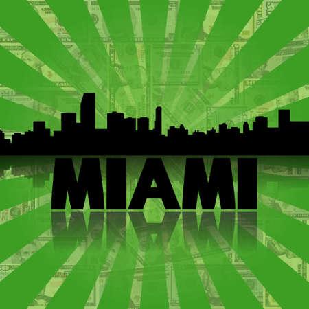 Miami skyline reflected with green dollars sunburst illustration illustration