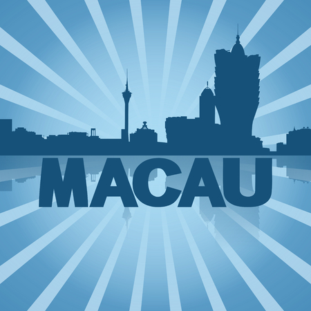 macau: Macau skyline reflected with blue sunburst illustration