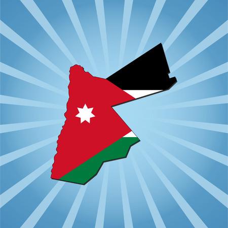 jordan: Jordan map flag on blue sunburst illustration