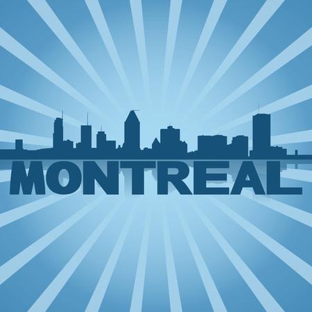 montreal: Montreal skyline reflected with blue sunburst illustration Stock Photo