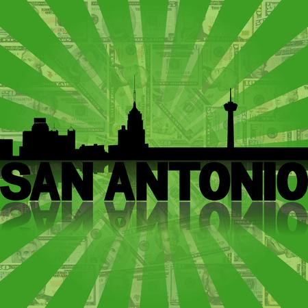 San Antonio skyline reflected with green dollars sunburst illustration Stock Photo