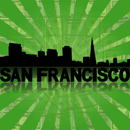san rays: San Francisco skyline reflected with green dollars sunburst illustration