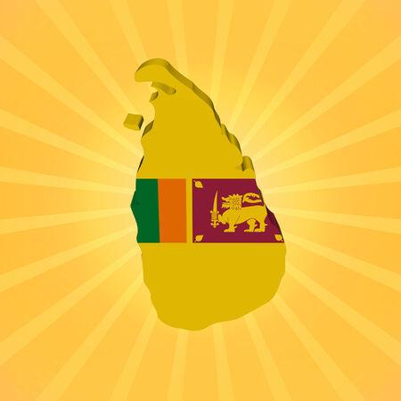 lanka: Sri Lanka map flag on sunburst illustration