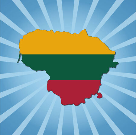 lithuania: Lithuania map flag on blue sunburst illustration Illustration