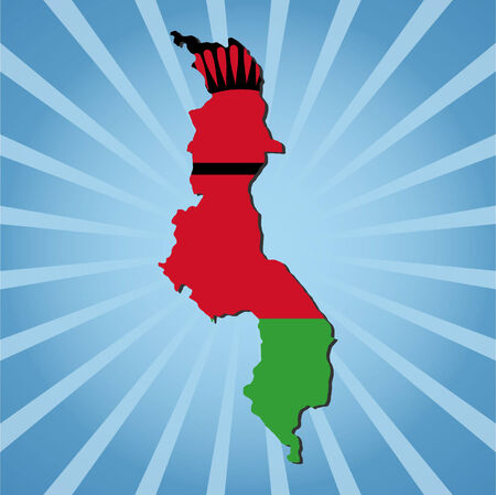 malawi: Malawi map flag on blue sunburst illustration