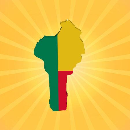 Benin map flag on sunburst illustration illustration