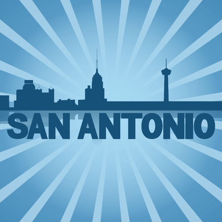 san rays: San Antonio skyline reflected with blue sunburst illustration Stock Photo