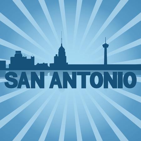 San Antonio skyline reflected with blue sunburst illustration Stock Photo