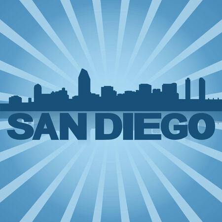 san rays: San Diego skyline reflected with blue sunburst illustration Stock Photo