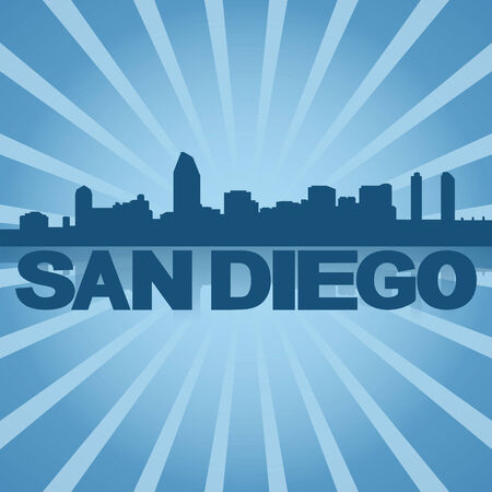 San Diego skyline reflected with blue sunburst illustration Stock Photo