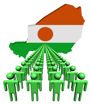 multitude: Lines of people with Niger map flag illustration Stock Photo