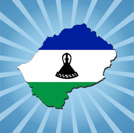 lesotho: Lesotho map flag on blue sunburst illustration