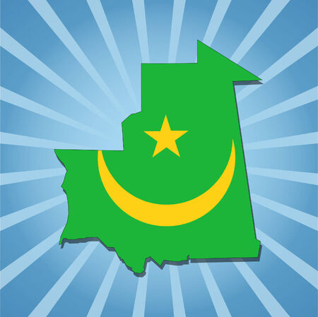 Mauritania map flag on blue sunburst illustration Vector