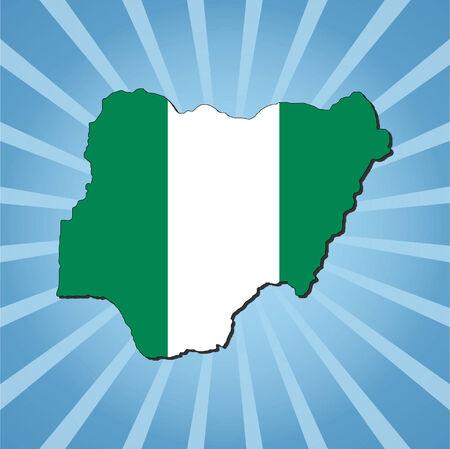 Nigeria map flag on blue sunburst illustration Vector