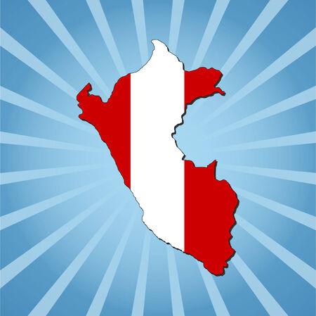peru map: Peru map flag on blue sunburst illustration