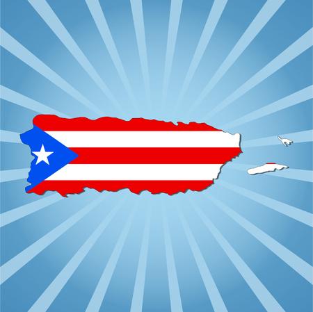 rican: Puerto Rico Bandera de mapa en la ilustraci�n azul del resplandor solar