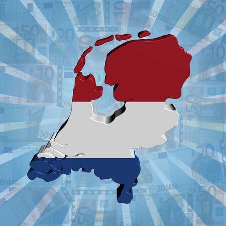 Netherlands map flag on euros sunburst illustration illustration
