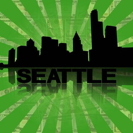 seattle skyline: Seattle skyline reflected with green dollars sunburst illustration