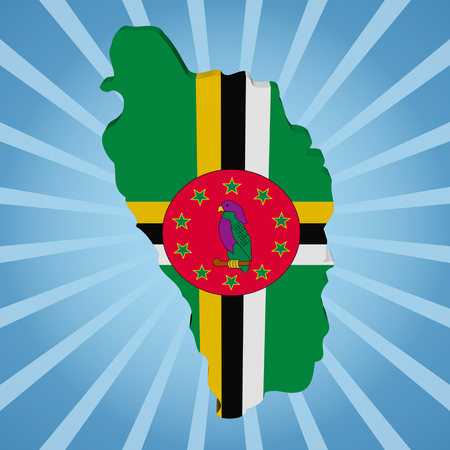 dominica: Dominica map flag on blue sunburst illustration Stock Photo