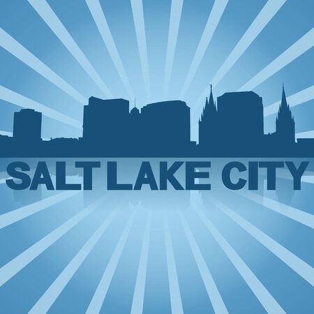 Salt Lake City skyline reflected with blue sunburst illustration