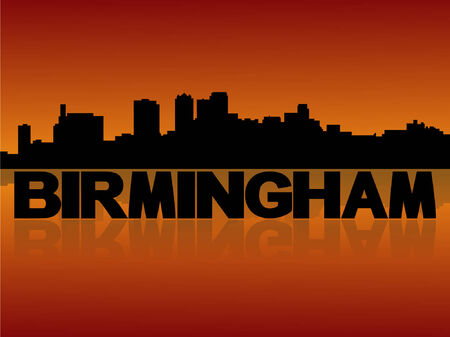 birmingham: Birmingham skyline reflected with text and sunset vector illustration