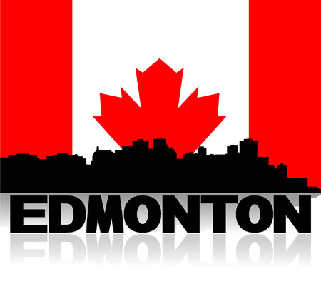 edmonton: Edmonton skyline and text reflected with Canadian flag illustration